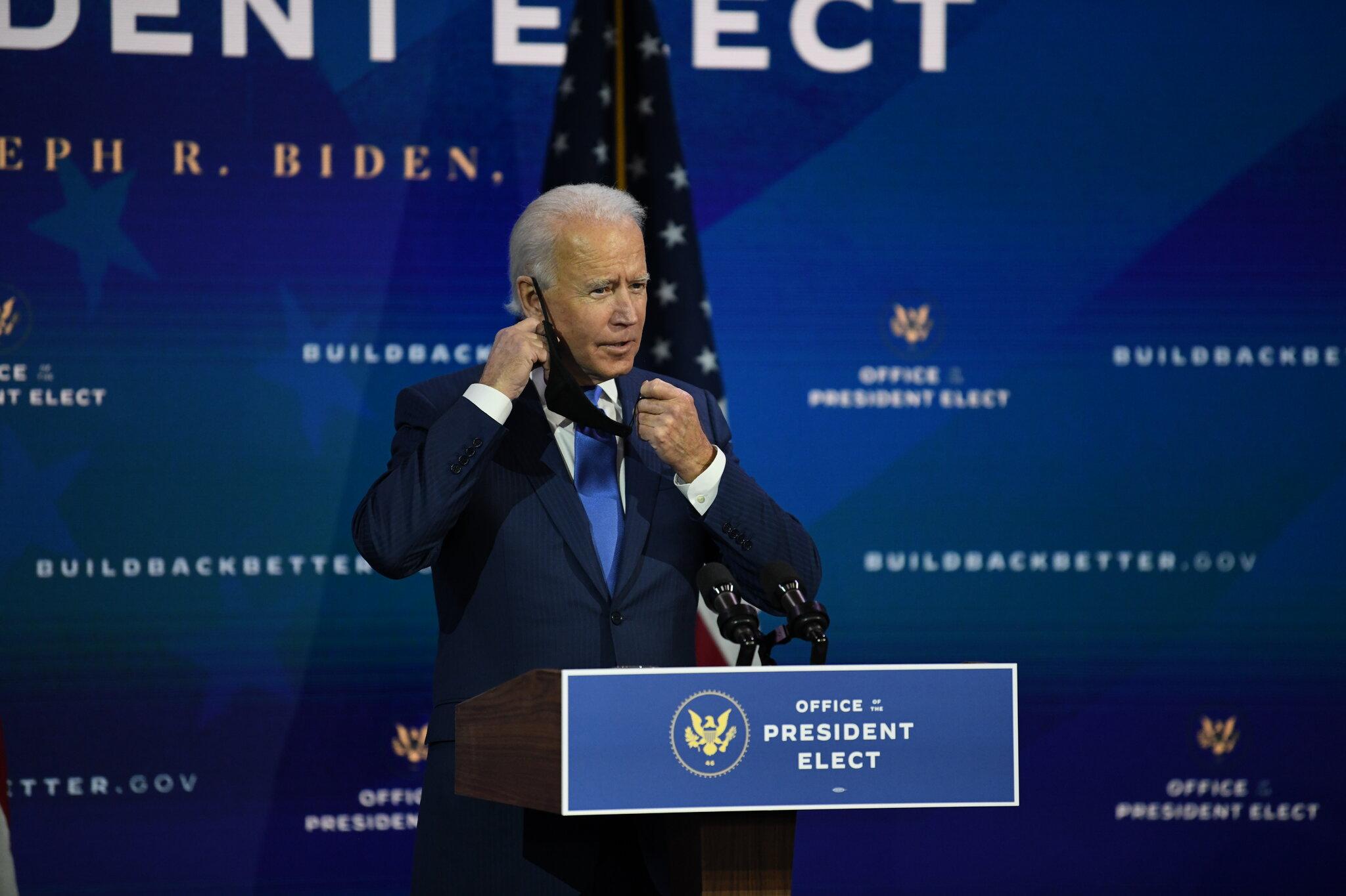 Biden anunciou a primeira medida para quando tomar posse: pedir aos americanos para usarem máscara durante 100 dias